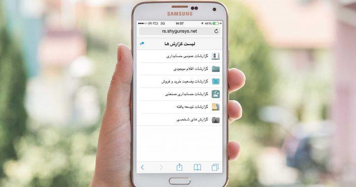 منوی گزارش موبایل