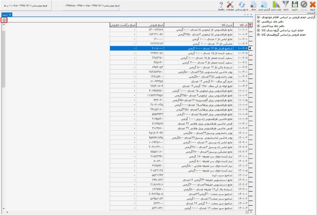 تنظیمات جدول در داشبورد مدیریتی