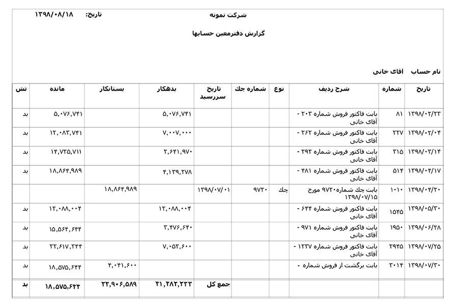گزارش دفترمعین حساب در نرم افزار حسابداری حسابگر