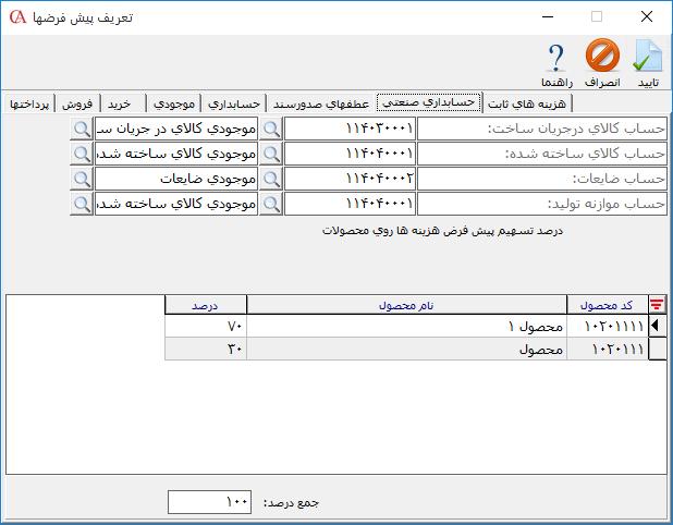 تعیین حسابهای پیش فرض در حسابداری صنعتی
