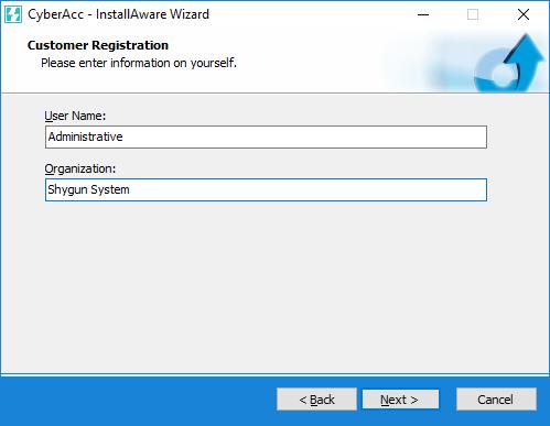 تعیین نام و نام شرکت در هنگام نصب برنامه حسابگر